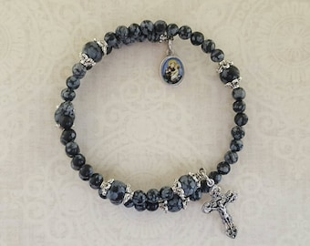 Rosary Bracelet, Snowflake Obsidian, St Anthony, Five Decade, Stainless Steel, Memory Wire, Gemstone, Black, Handcrafted, Wrapped Rosary