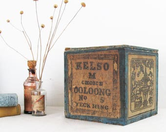 antique shipping crate,wood storage box,vintage wood crate,tea crate,advertising crate,BOSTON MA,mercantile,farmhouse antiques,tea caddy