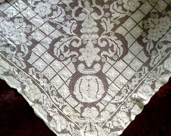 Large White Vintage Net Lace Tablecloth