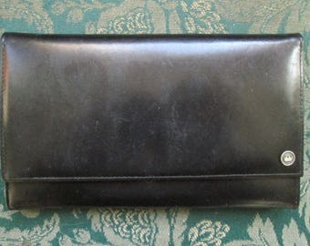 Vintage Black Leather Wallet, New Old Stock, Made in Germany