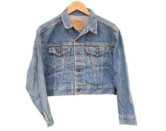 Vintage LEVIS Denim Jacket Jean Womens Cropped style - UK 10 (26326)