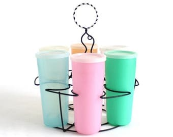 Tupperware Wire Cup Carrier Tupper Seal Millionaire Line, #107 Pastel Tumblers & #297 Lids (various ages), Metal Iced Tea Caddy Rack, Colors