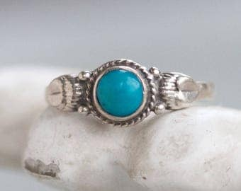 Turquoise Boho Ring - Sterling Silver Ring - Size 6.5