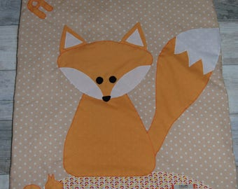 Fox baby blanket personalized for August