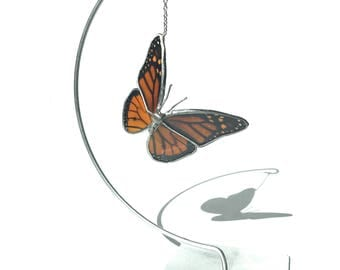 Real Monarch Butterfly Ornament Glass