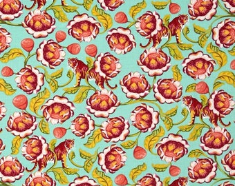 74056  -Tula Pink Eden Lotus in Tomato PWTP071 - 1/2  yard