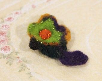 Cool Colorful Felt Flower Pin / Brooch