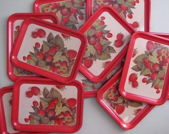 Vintage Red Strawberry TV Trays / Serving Trays / Lap Trays - Set of Twelve