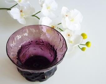 Vintage, Morgantown Crinkle, Glass Vase, Flower Lite, Amethyst, Purple, Seneca Driftwood, Crinkleware, Collectible, Low flower Arrangement