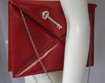 Vintage Paris JACOMO Lipstick Red Couvert-style Evening Clutch/Shoulderbag w/Diamante Key