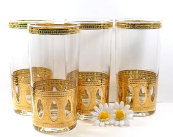 Culver Glass Signed Antigua Tall Highball Glasses 22-Karat Gold Mid-Century 1950s Set of Four Vintage Barware