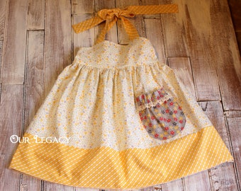 Yellow floral halter dress with pocket size 3