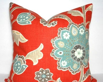 FALL is COMING SALE Braemore Ankara Scarlet Blue Tan Grey Orange/Red Floral Print Pillow Cover Flower Pillow Cover Choose Size