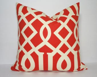 INVENTORY REDUCTION Lava Red Ivory Trellis Geometric Pillow Cover Home Decor by HomeLiving Size 18x18