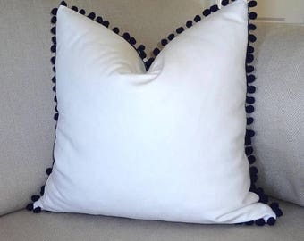 SPRING FORWARD SALE Solid White Pillow Cover with Dark Navy Pom Pom Decor by HomeLiving Choose Size