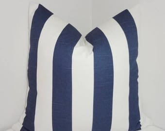 SPRING FORWARD SALE Navy Blue & White Stripe Pillow Covers Navy White Pillow Cover All Sizes