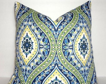 SPRING FORWARD SALE Outdoor Navy Yellow Green Blue White Diamond Floral Pattern Porch Pillow Cover Patio Decor Size 18x18