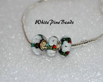 Floral Murano Glass Bead Fits European Style Charm Bracelets