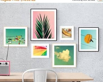 art prints // gallery wall set // happy bright photography // pink palm blue sky beach umbrella - set of modern photography pop prints set