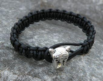 genuine leather bracelet black, braided