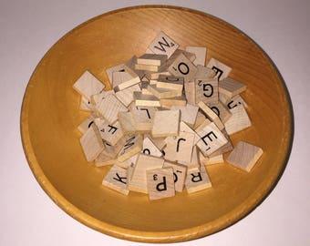 100 Wooden Scrabble Tiles Full Set -Alphabet Game Tiles