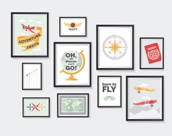 Airplane Printable, Nursery Printables, Gallery Wall, decor, pilot, aviation, flying, travel, plane, compass, globe, wings, INSTANT DOWNLOAD