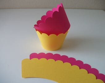 Hot Pink and Yellow Party Cupcake Wrappers - Party Decorations - Cupcake Holders - Baby Shower Decor - Cupcake Wraps - Set of 12