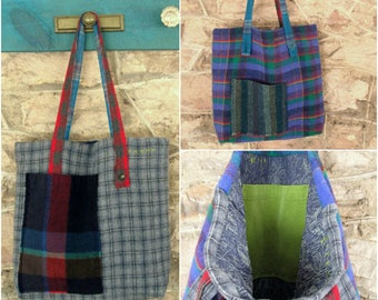 Wool Tote Bag large bookbag handmade OOAK market library patchwork plaid mori hipster shoulder bag upcycled recycled altered fabric purse