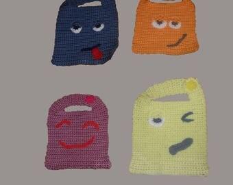 Hand Made Emoji Bib. 4 sizes to choose from.