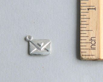 Envelope Charm, Mail Envelope Charm, Envelope Pendant, Love Letter Charm, Sterling Silver Envelope Charm, Letter Pendant, 10 x 8mm (1 piece)