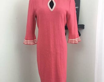 Pucker Up // Pink Knit 80s does 60s Key Hole Neckline Dress