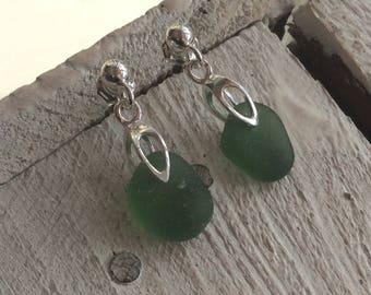 Sea Glass Earrings, Green Sea Glass, Sterling silver ear posts, Seaham Sea glass, English Sea glass, Sea glass jewellery
