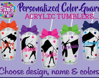 12-Piece Set Personalized COLOR GUARD Clear Acrylic TUMBLERS w/ Name Flag & Girl Silhouette Polka Dots Flag Squad Marching Band