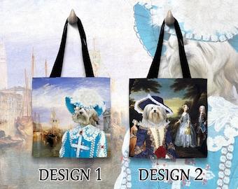 Lowchen Dog Tote Bag/Lowchen Portrait/Lowchen Art/Personalized Dog Tote Bag/Custom Dog Portrait