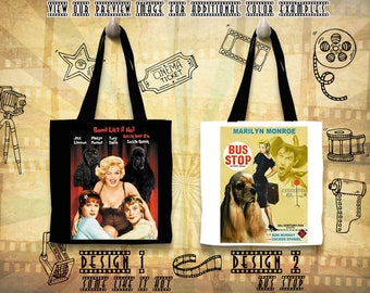 American Cocker Spaniel Tote Bag/Cocker Spaniel Portrait/Cocker Spaniel Art/Custom Dog Portrait/Movie Poster/Bus Stop/Some Like It Hot