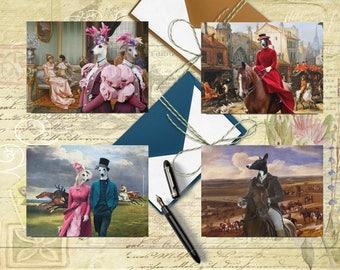 Whippet Art, Whippet Postcard Set, Whippet Greeting Card Set, Whippet Sticker, Whippet Vinyl Decal, Whippet Portrait, Whippet Print