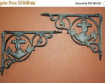 "12% OFF 16) Antique-look Maritime Decor, Anchor shelf brackets, Anchor corbels, cast iron Anchors, bronze-look,9"", Free Shipping, B-39"