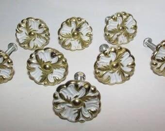 8 French Provincial Drawer Pulls, Vintage 1960s, White & Gold Furniture Hardware, Hollywood Regency, Dresser Knobs, Shabby Country Cottage