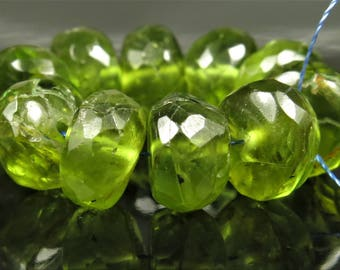 Natural Genuine Peridot Micro-Faceted Rondelle Beads - 7.2mm x 4.4mm - 10 beads - B7434