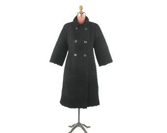 Vintage 1960's Lilli Ann Black Wool Crepe Textured Knit Princess Mod Heavy Coat S