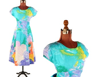 Vintage 1950's Combed Cotton Bright Aqua Blue Abstract Rainbow Tropical Print Full Skirt Dress S