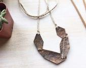 Strata II. Geometric Copper Necklace.