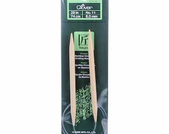 One Set of Clover Takumi Bamboo 29in Circular Knitting Needles Size 11, 8.0mm, #3016/29-11