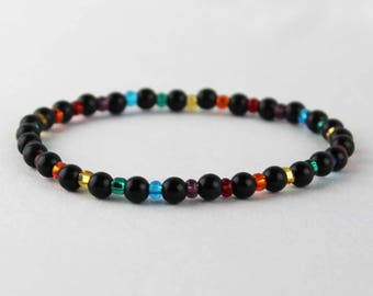 LGBT Gay Lesbian Pride Rainbow Bracelet beaded with Czech glass beads and acrylic black pearls