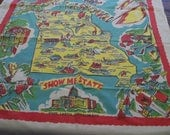 """Vintage Missouri Souvenir Tablecloth Map of State with Attractions """"Show Me State"""" Mid Century Table Topper State Capitol Mark Twain Region"""