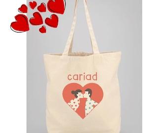 Cariad Natural Tote Bag, Love Heart, Kissing Couple, Welsh Tote Bag, Bag Siopa