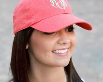 Womens Coral Monogrammed Baseball Hat, Lades Monogrammed Baseball Cap, Embroidered Baseball Hat, Personalized Coral Baseball Cap, Summer Hat