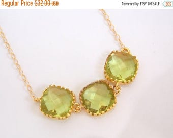 SALE Apple Green Necklace, Gold Green Necklace, Peridot, Bridesmaid Jewelry, Bridesmaid Necklace, Gold Filled, Bridal Jewelry, Bridesmaid Gi