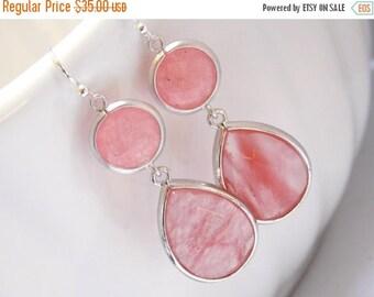 SALE Coral Earrings, Peach Earrings, Pink, Glass Earrings, Silver Earrings, Grapefruit, Bridesmaid Earrings, Bridal Jewelry, Bridesmaid Gift