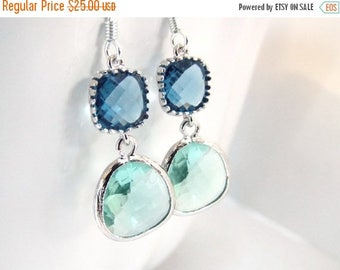 SALE Green Earrings, Blue Earrings, Aqua Glass Earrings, Silver Earrings, Wedding, Bridesmaid Earrings, Bridal Earrings Jewelry, Bridesmaid